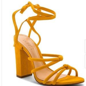 Schutz yellow lace up heeled sandals